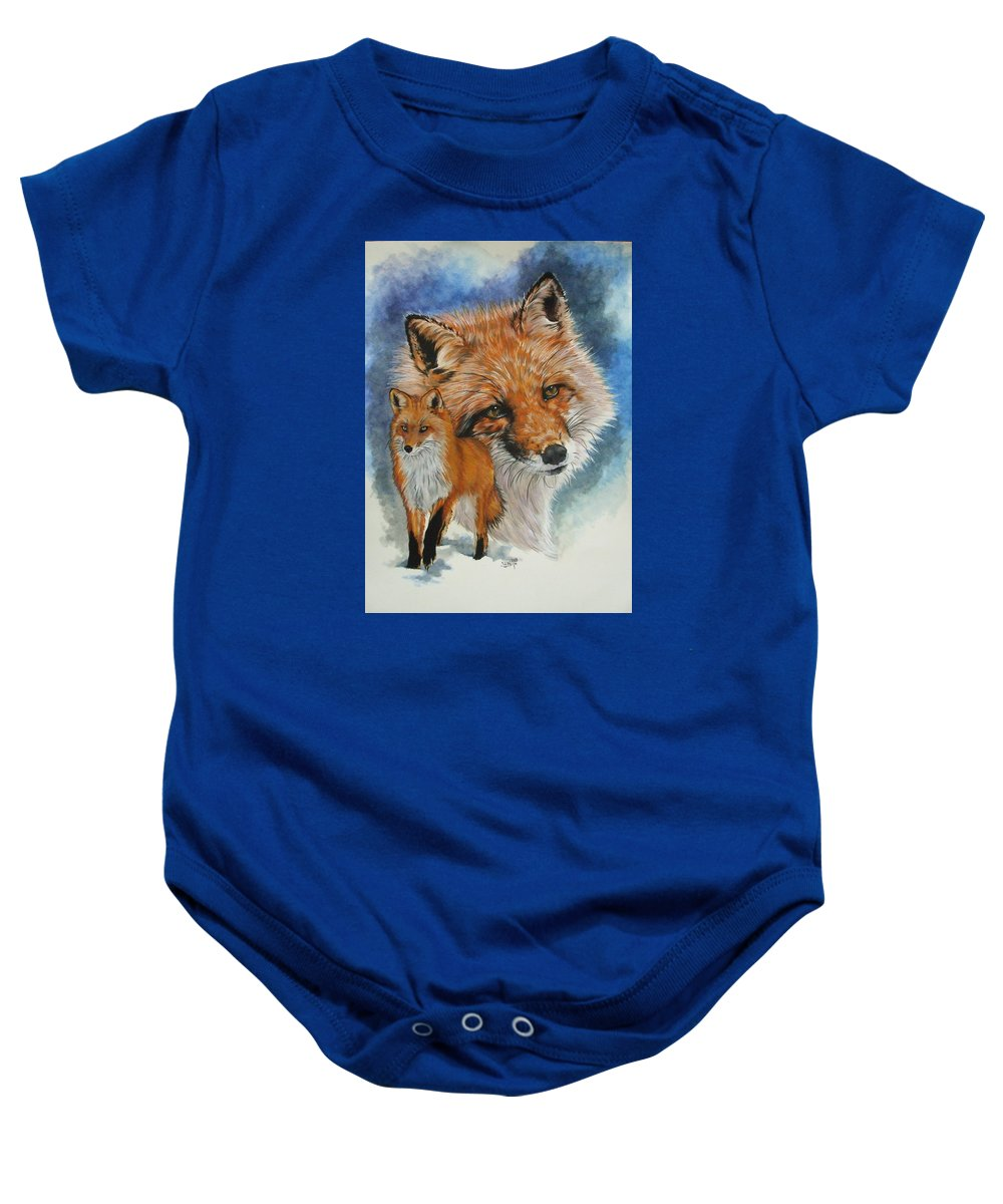 Fox Baby Onesie featuring the mixed media Cunning by Barbara Keith