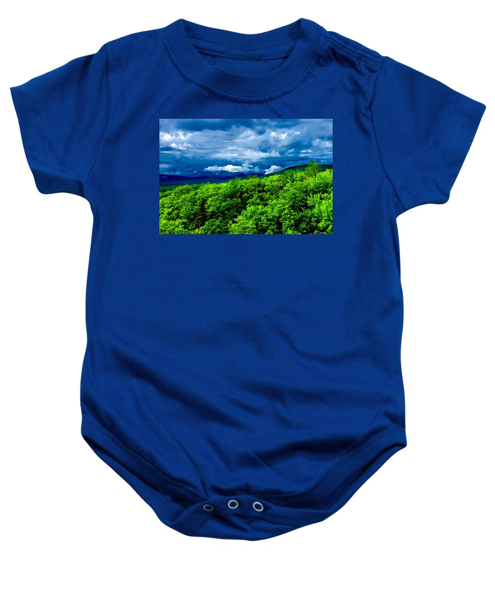 Crawford Notch Baby Onesie featuring the photograph Dark Over Light by Greg Fortier