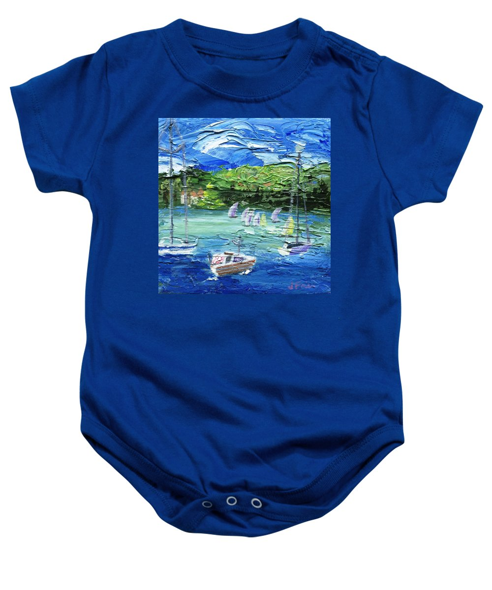 Impressionistic Baby Onesie featuring the painting Darling Harbor II by Jamie Frier