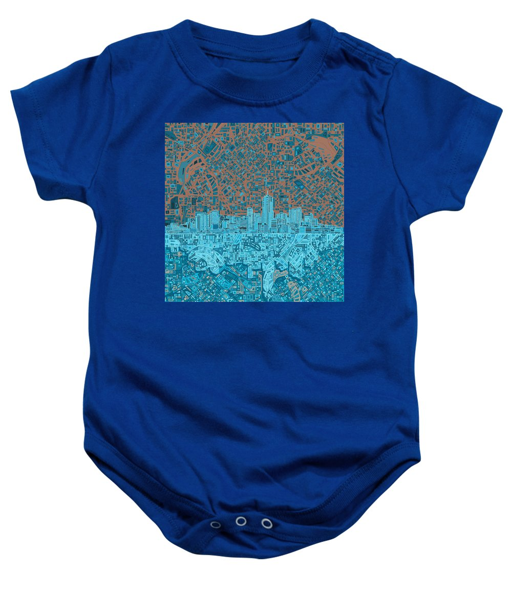 Denver Skyline Baby Onesie featuring the painting Denver Skyline Abstract by Bekim Art