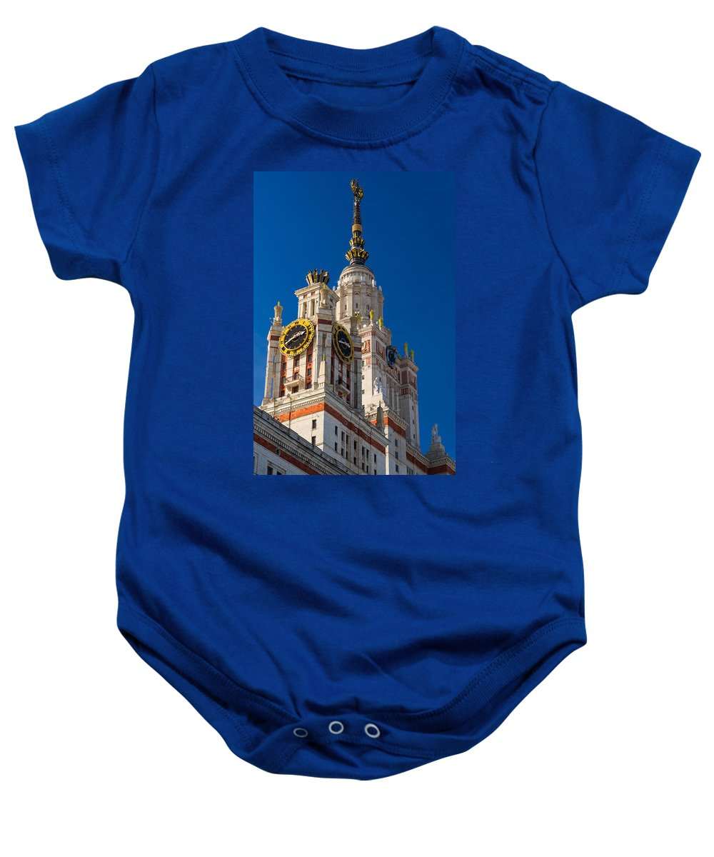 Architecture Baby Onesie featuring the photograph Detail Of The Main Building Of Moscow State University On Sparrow Hills by Alexander Senin