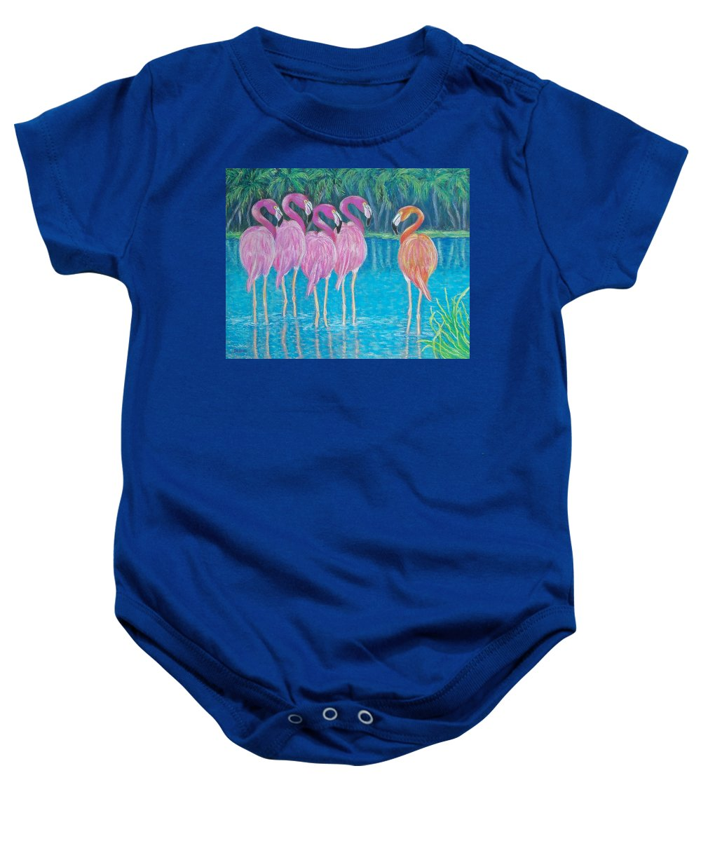 Sue Delain Baby Onesie featuring the painting Different But Alike by Susan DeLain