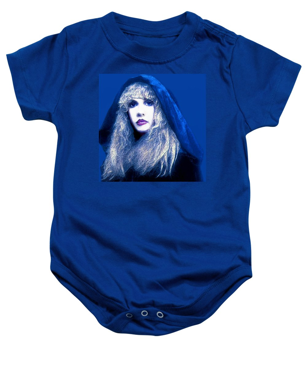 Stevie Nicks Baby Onesie featuring the mixed media Dreams Unwind by G Cannon