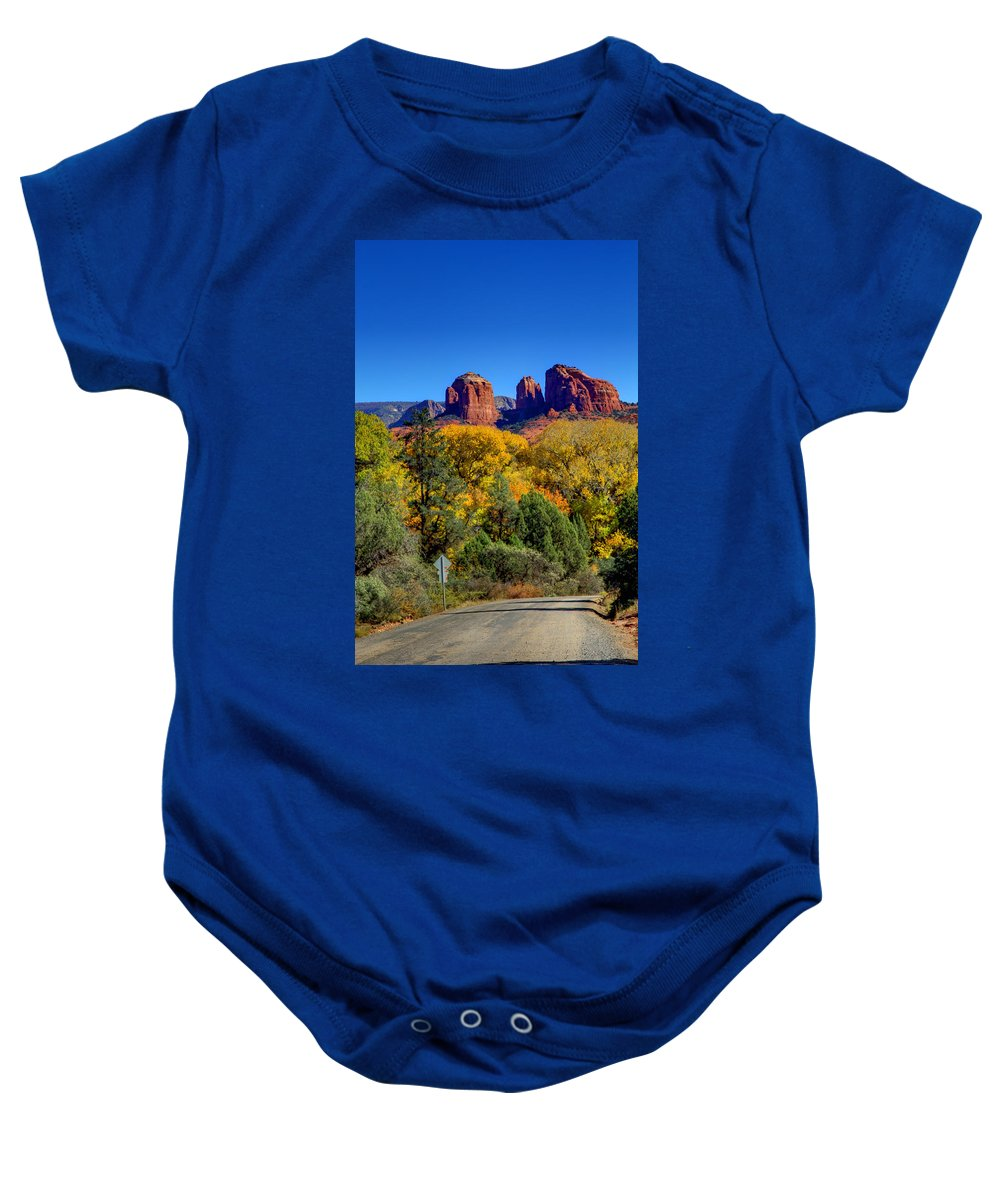 Landscape Baby Onesie featuring the photograph Driving Towards Beauty by Deb Buchanan