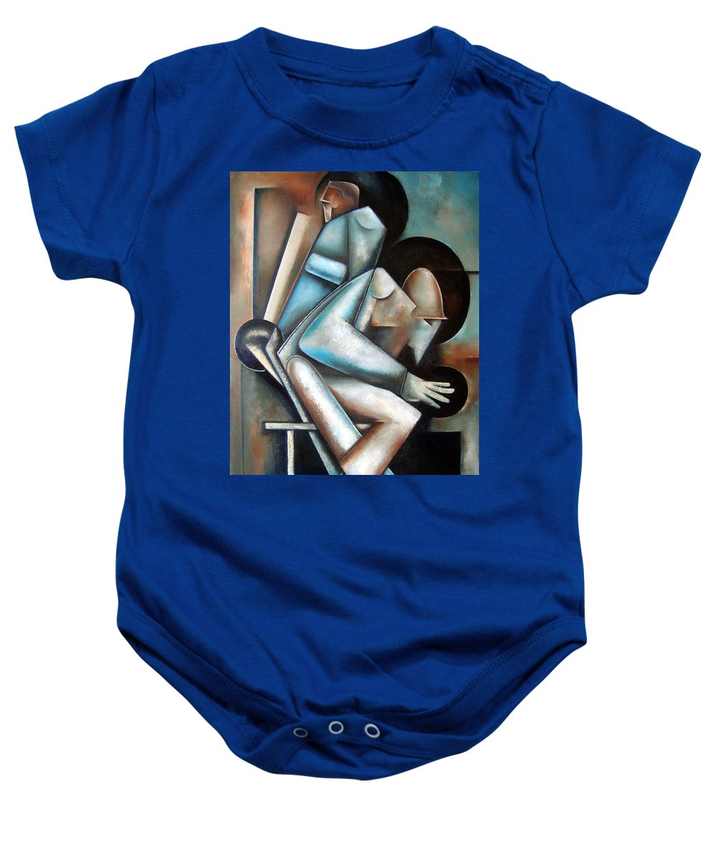 Jazz Cubism Thelonious Monk John Coltrane Baby Onesie featuring the painting Dual Mode by Martel Chapman