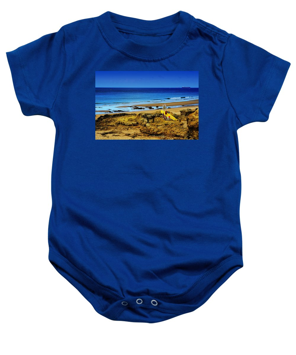 Early Morning On The Beach Baby Onesie featuring the photograph Early Morning On The Beach by Marco Oliveira