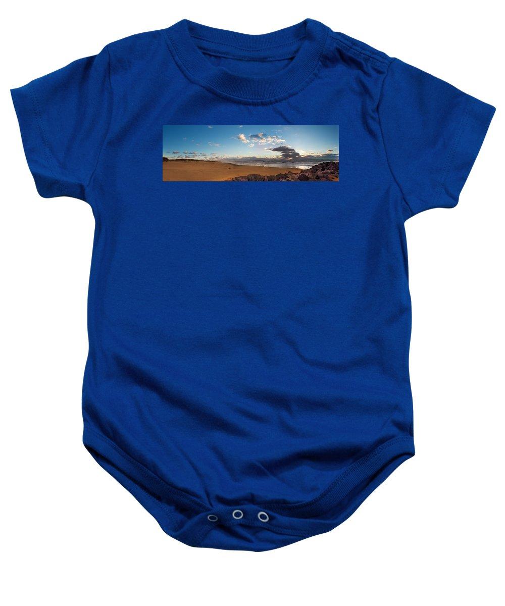Sunrise Baby Onesie featuring the photograph East Hampton Sunrise by Jonathan Steele