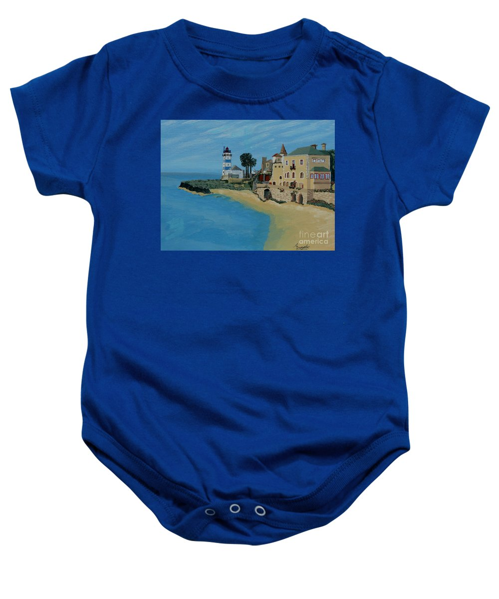 Lighthouse Baby Onesie featuring the painting European Lighthouse by Anthony Dunphy