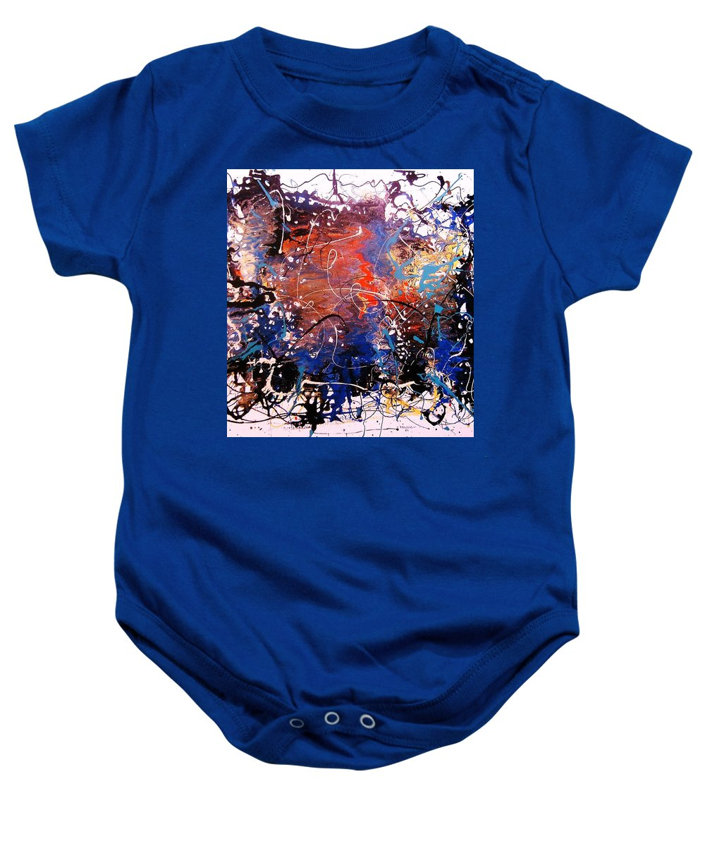 Abstract Impression Baby Onesie featuring the painting Zona Esotica by Roberto Prusso