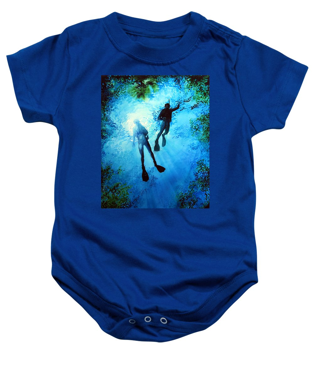 Sports Artist Baby Onesie featuring the painting Exploring New Worlds by Hanne Lore Koehler