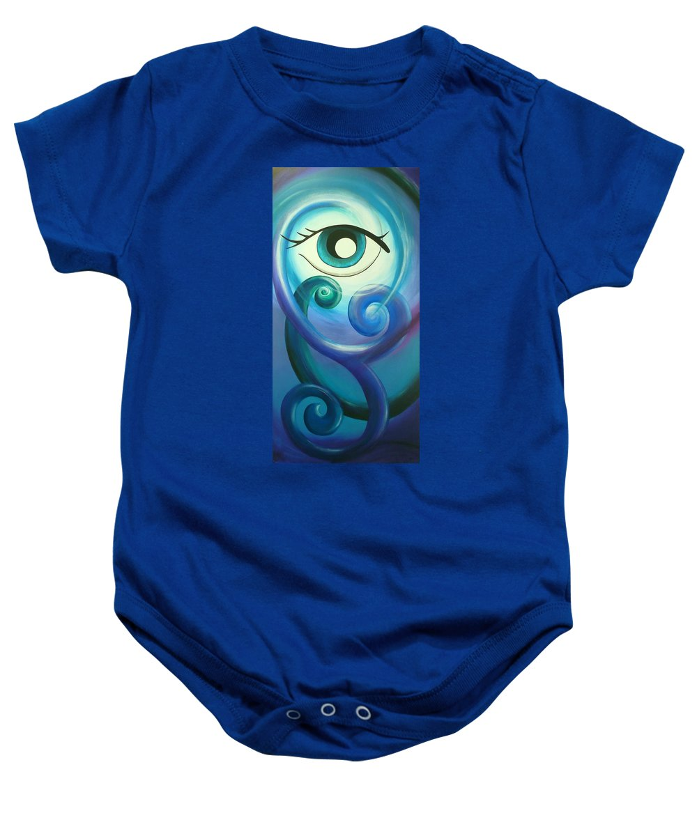 Abstract Prints Baby Onesie featuring the painting Eye Triple Koru by Reina Cottier