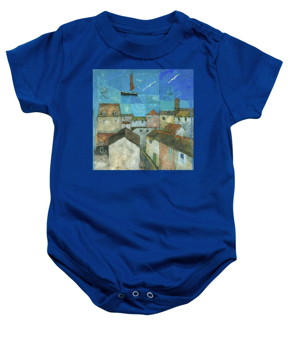 Abstract Baby Onesie featuring the painting Falmouth by Steve Mitchell