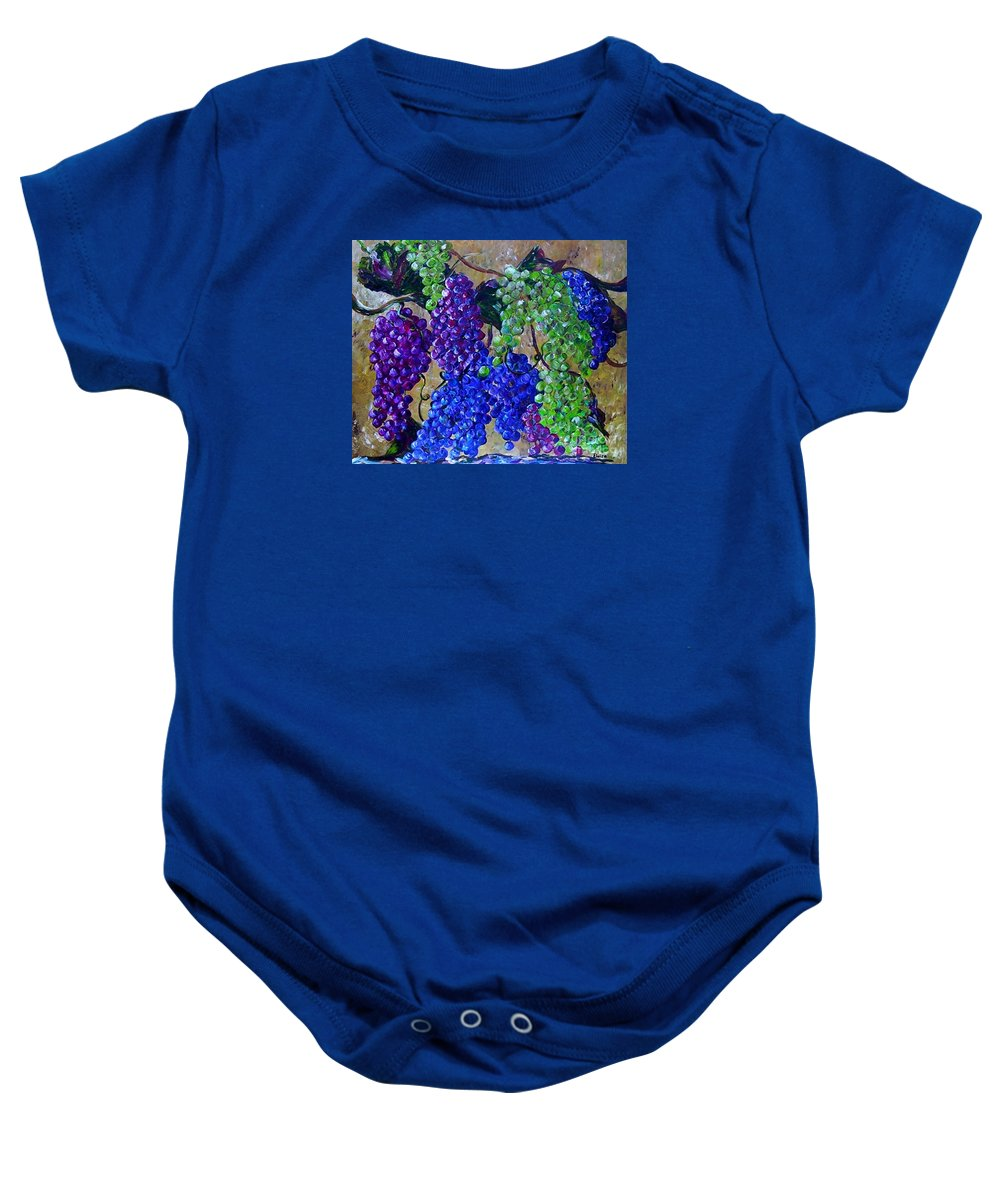 Grapes Baby Onesie featuring the painting Festival Of Grapes by Eloise Schneider Mote