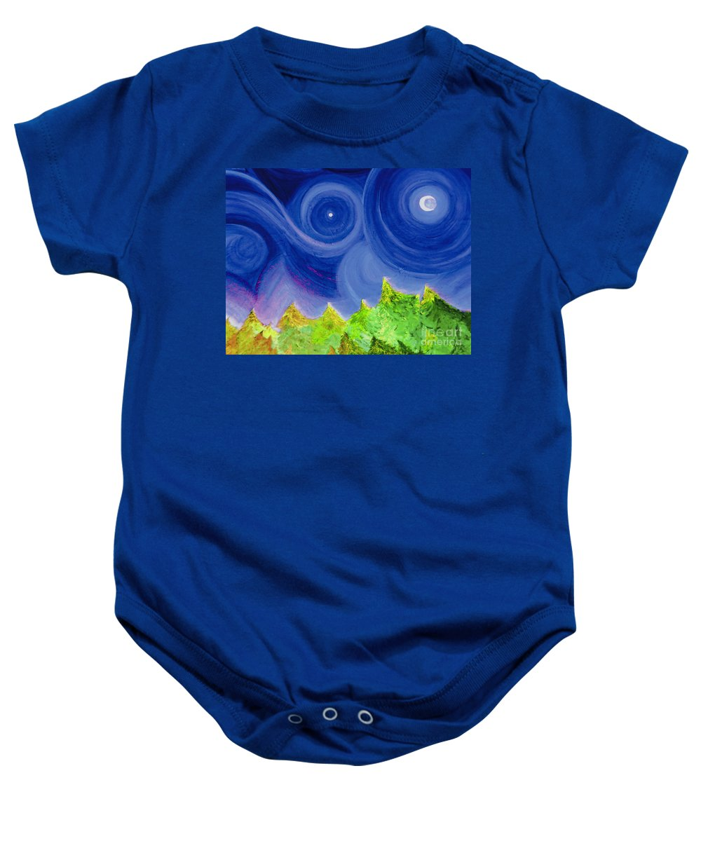Trees Baby Onesie featuring the painting First Star By Jrr by First Star Art