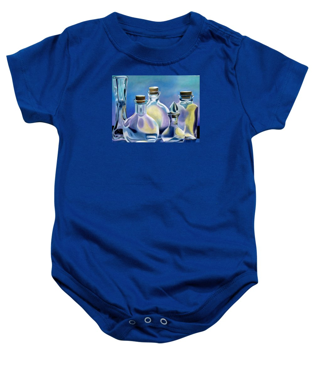 Glass Baby Onesie featuring the painting Five Clear Bottles by Marilyn Healey