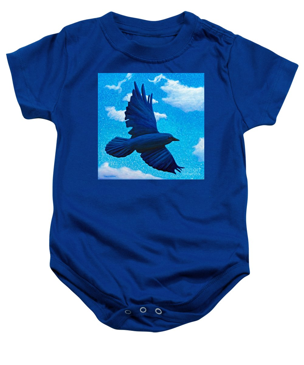 Raven Baby Onesie featuring the painting Flight by Brian Commerford