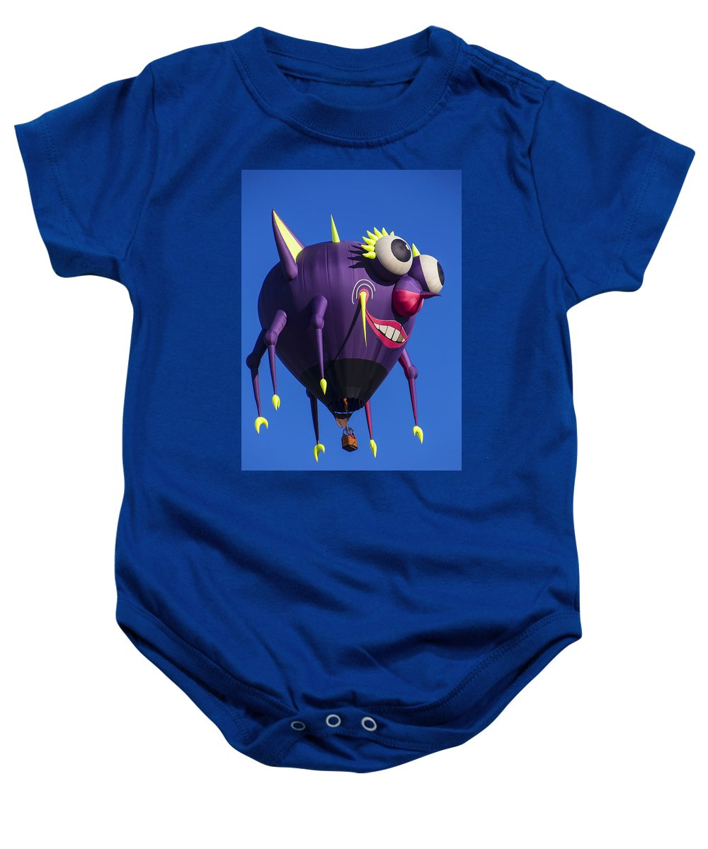 Purple People Eater Hot Air Balloon Baby Onesie featuring the photograph Floating Purple People Eater by Garry Gay