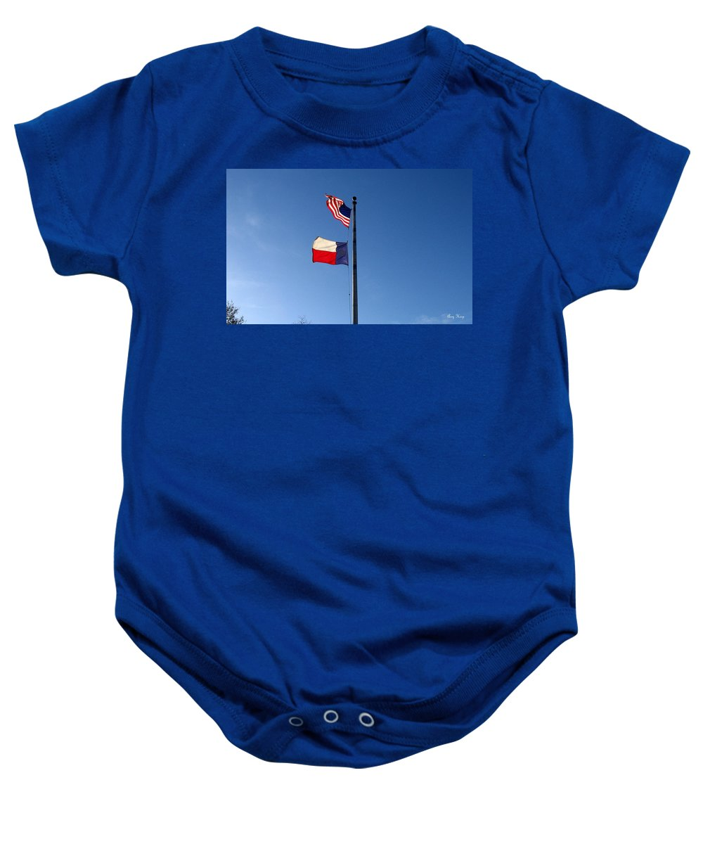 American Flag Baby Onesie featuring the photograph Flying Flags by Amy Hosp