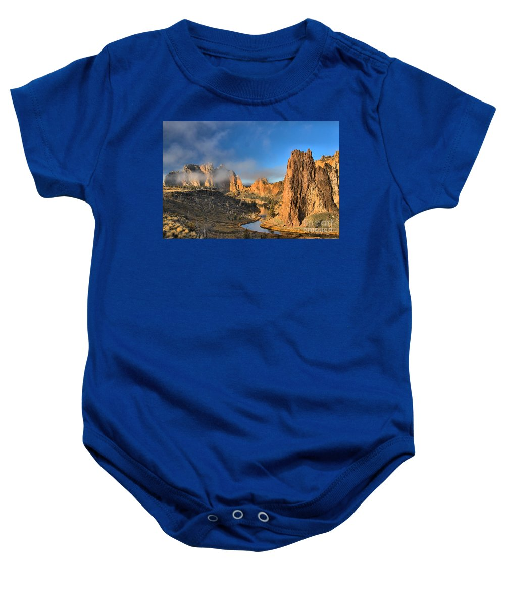 Smith Rock Baby Onesie featuring the photograph Fog Over Smith Rock by Adam Jewell