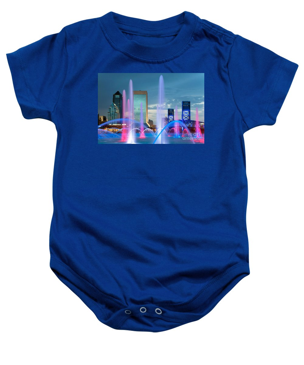Florida Baby Onesie featuring the photograph Friendship Fountain Jacksonville Florida by Bill Cobb
