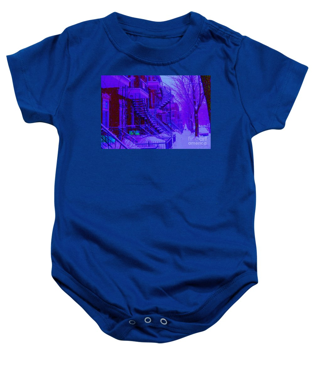 Montreal Baby Onesie featuring the photograph Frost On Winding Staircases by Carole Spandau