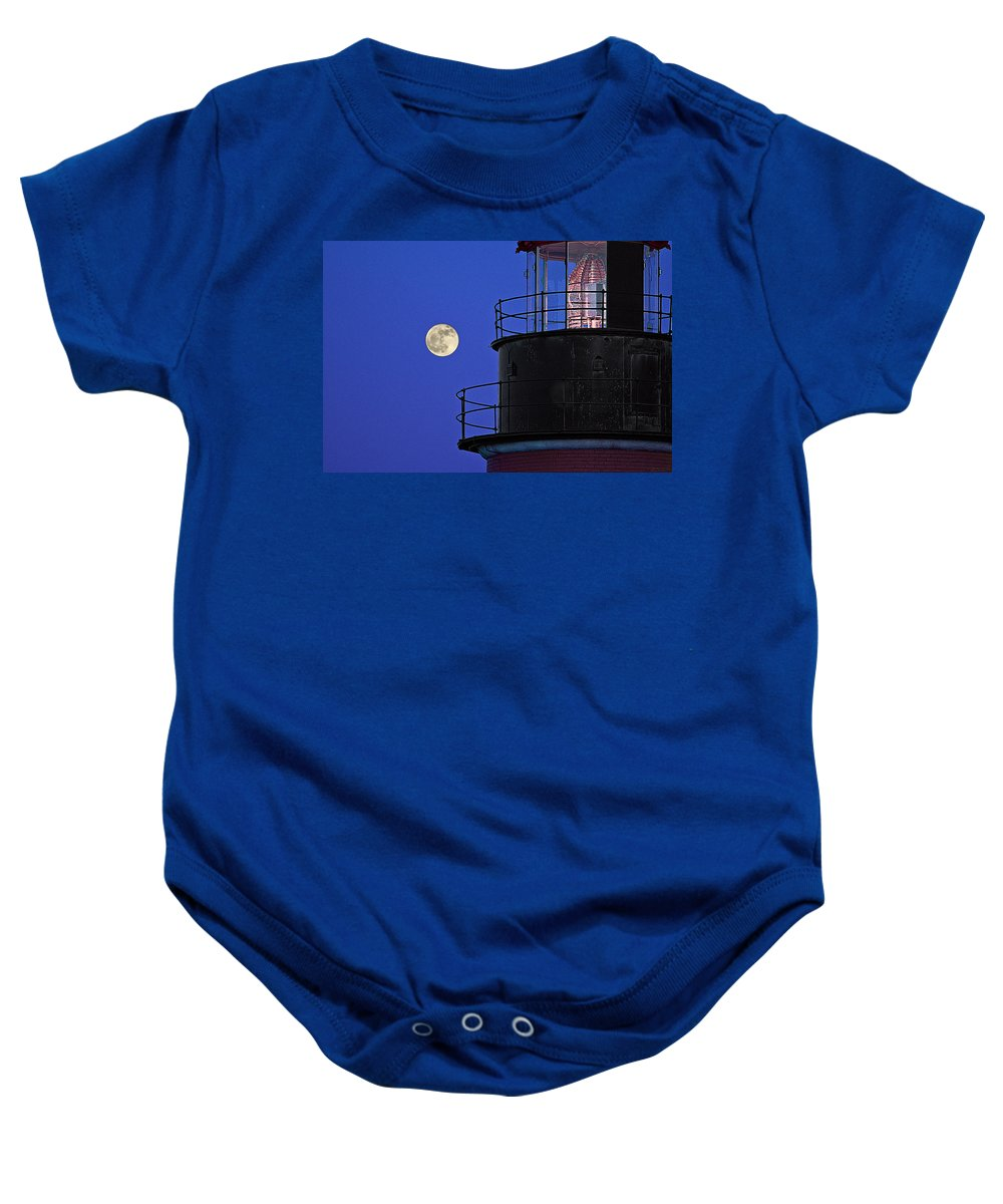 Full Moon And West Quoddy Head Lighthouse Beacon Baby Onesie featuring the photograph Full Moon And West Quoddy Head Lighthouse Beacon by Marty Saccone