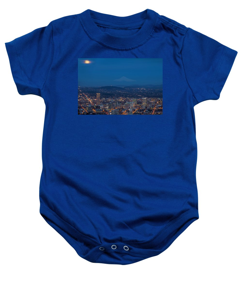 Portland Baby Onesie featuring the photograph Full Moon Rising Over Portland Cityscape by Jit Lim