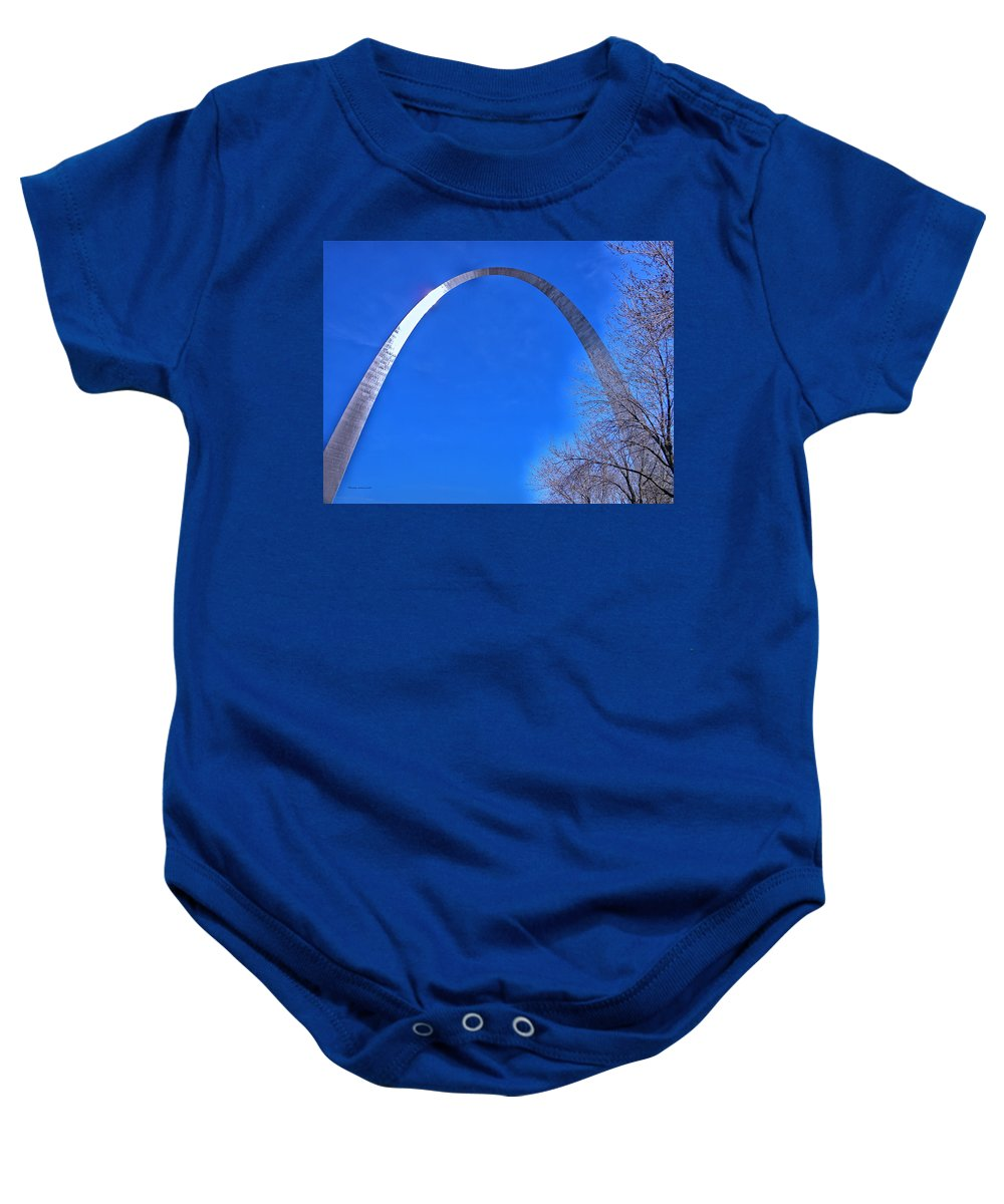 Jefferson National Expansion Baby Onesie featuring the photograph Gateway Arch St Louis 03 by Thomas Woolworth