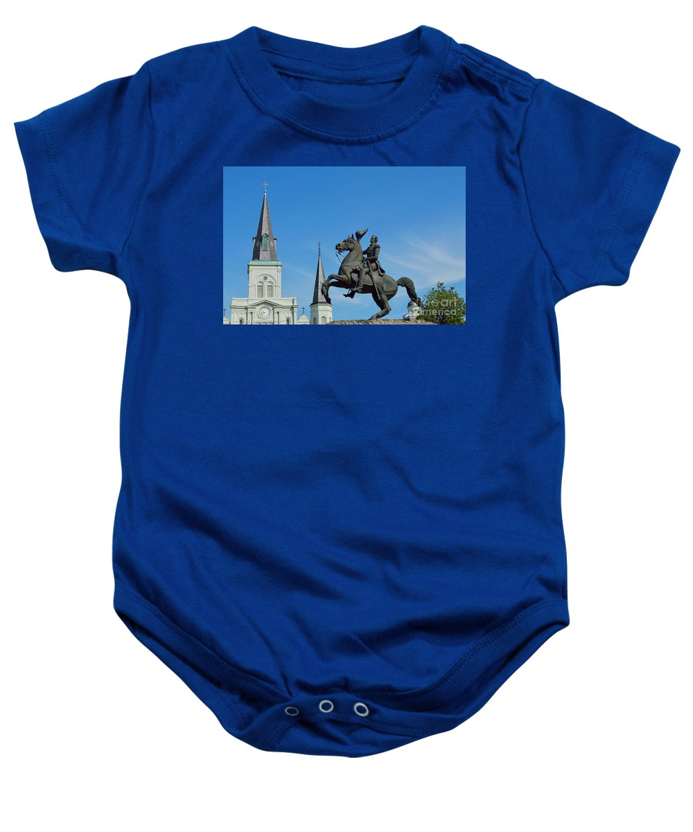 St. Louis Cathedral Baby Onesie featuring the photograph General Jackson Statue by Alys Caviness-Gober