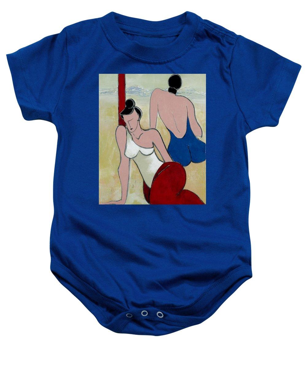 Peaceful Baby Onesie featuring the painting Girl Friends by Elisabeta Hermann