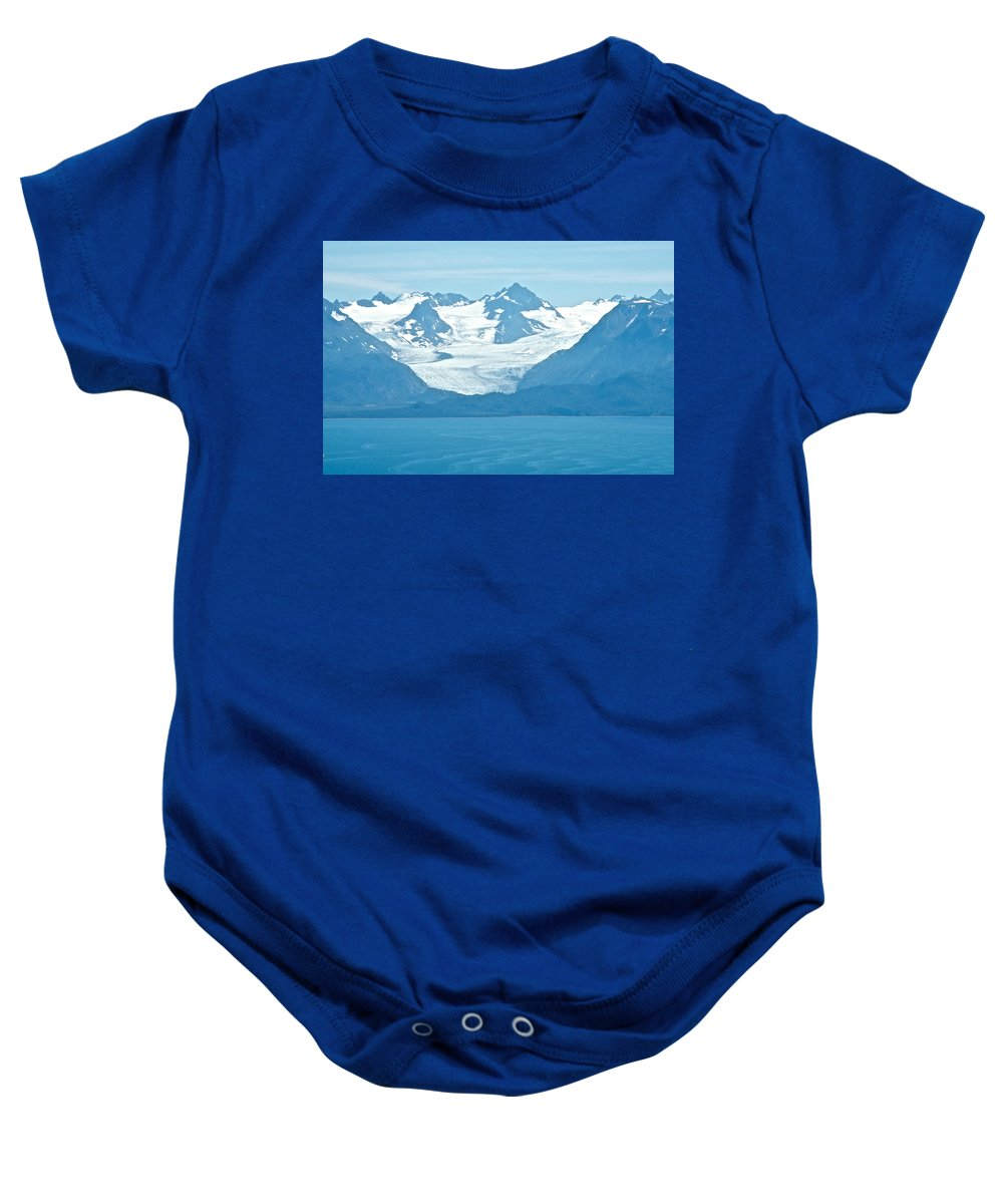 Glaciers In Kenai Range Over Kachemak Bay From Skyline Drive Baby Onesie featuring the photograph Glaciers In Kenai Range Over Kachemak Bay In Homer-ak- by Ruth Hager