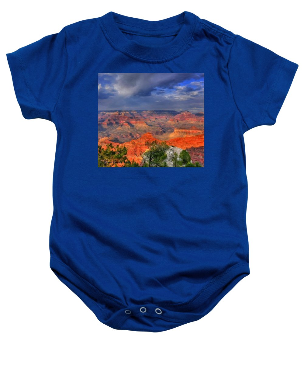 Colorful Baby Onesie featuring the painting Grand Canyon by Bruce Nutting