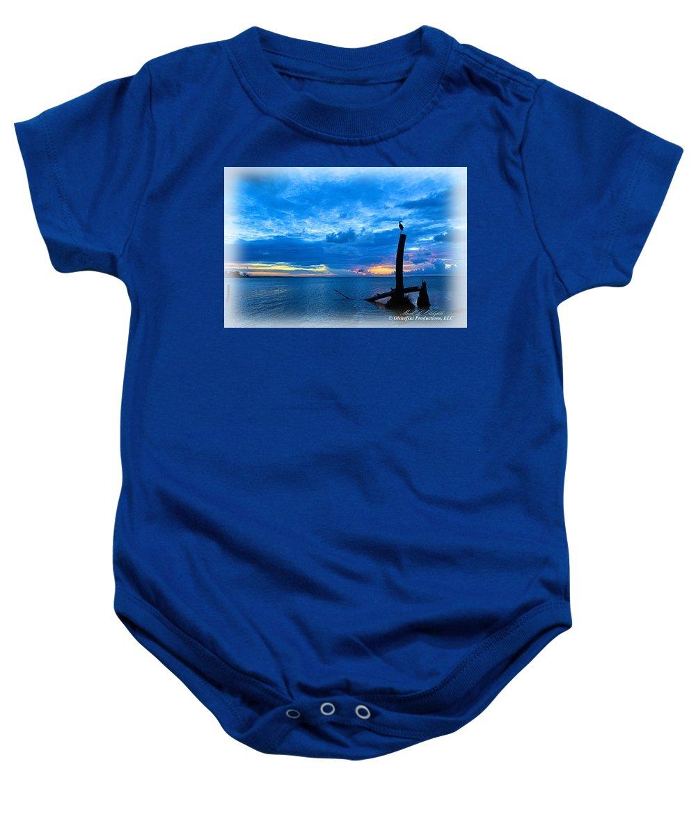 Sunrise Baby Onesie featuring the digital art Great Blue Heron Sunrise by Mark Olshefski