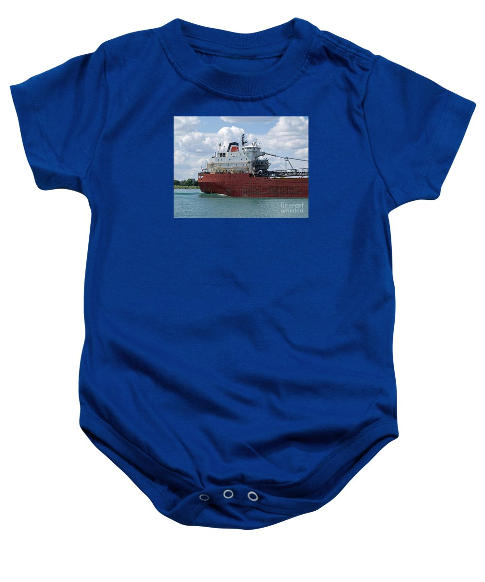 Freighter Baby Onesie featuring the photograph Great Lakes Transport by Ann Horn