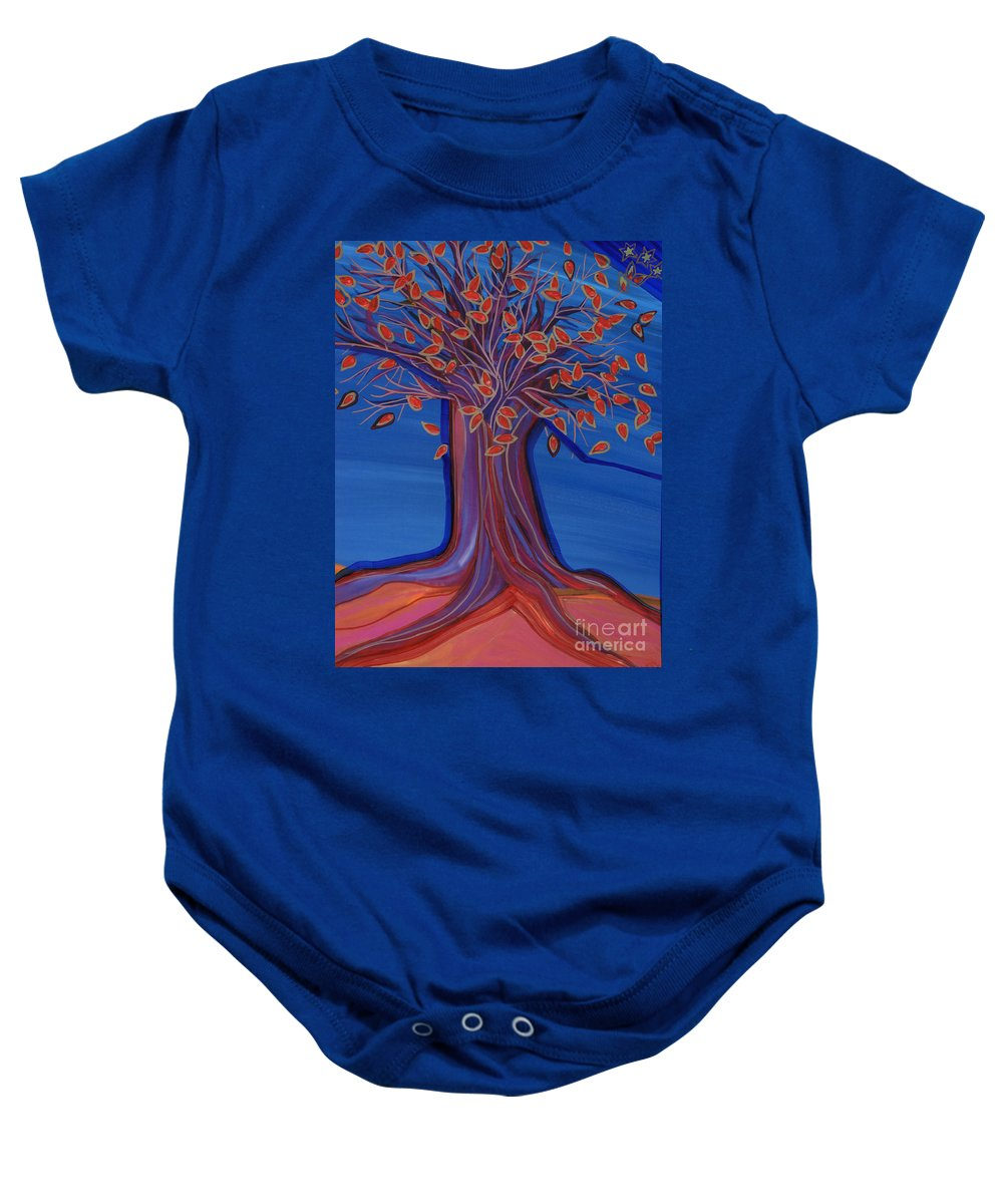 First Star Art Baby Onesie featuring the painting Green Leaves by First Star Art