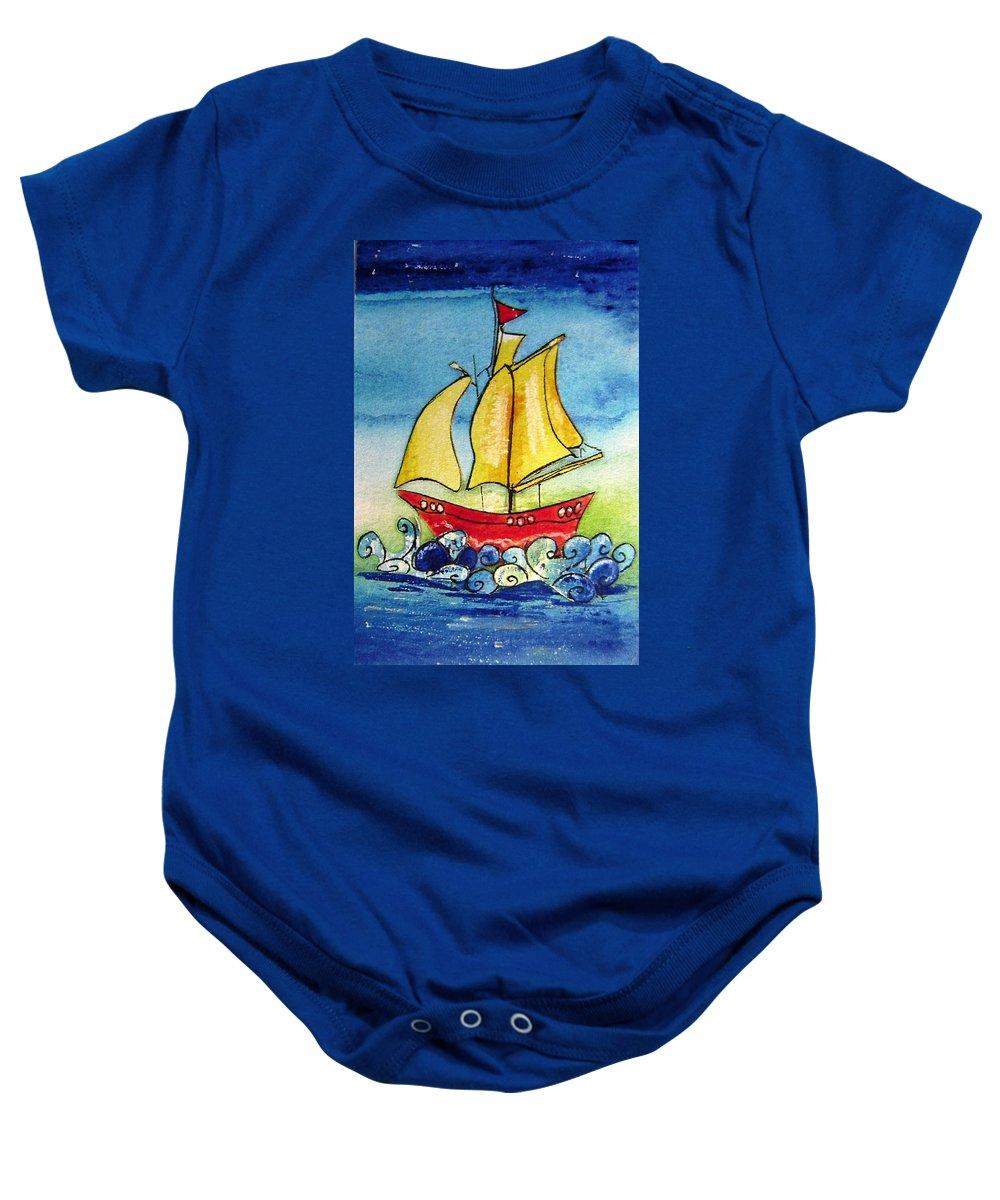 Ship Baby Onesie featuring the mixed media Happy Sailing Ship by Mary Cahalan Lee- aka PIXI
