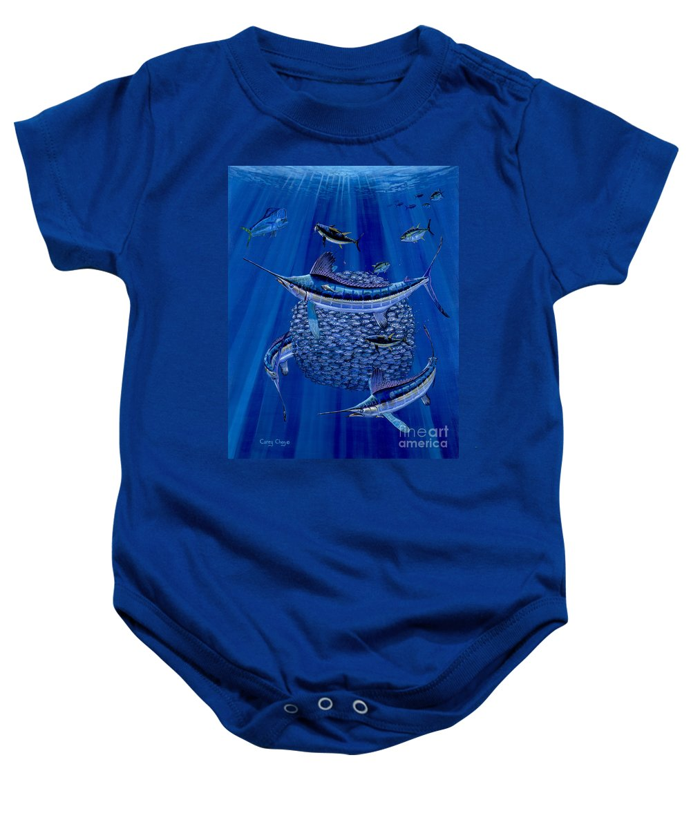 White Marlin Baby Onesie featuring the painting Having A Ball Off0078 by Carey Chen