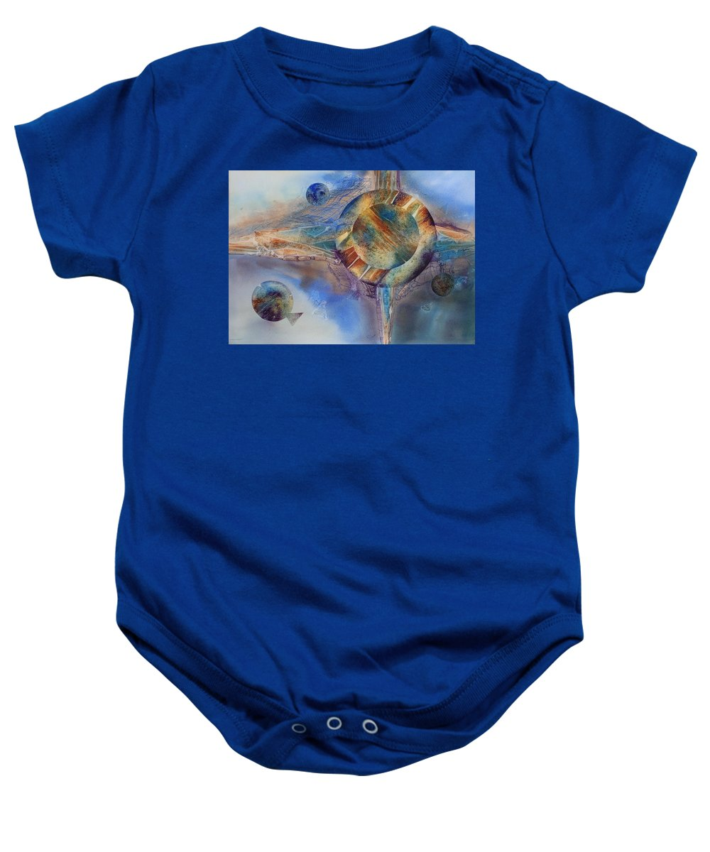Spiritual Baby Onesie featuring the painting Heavens Gate by Tara Moorman