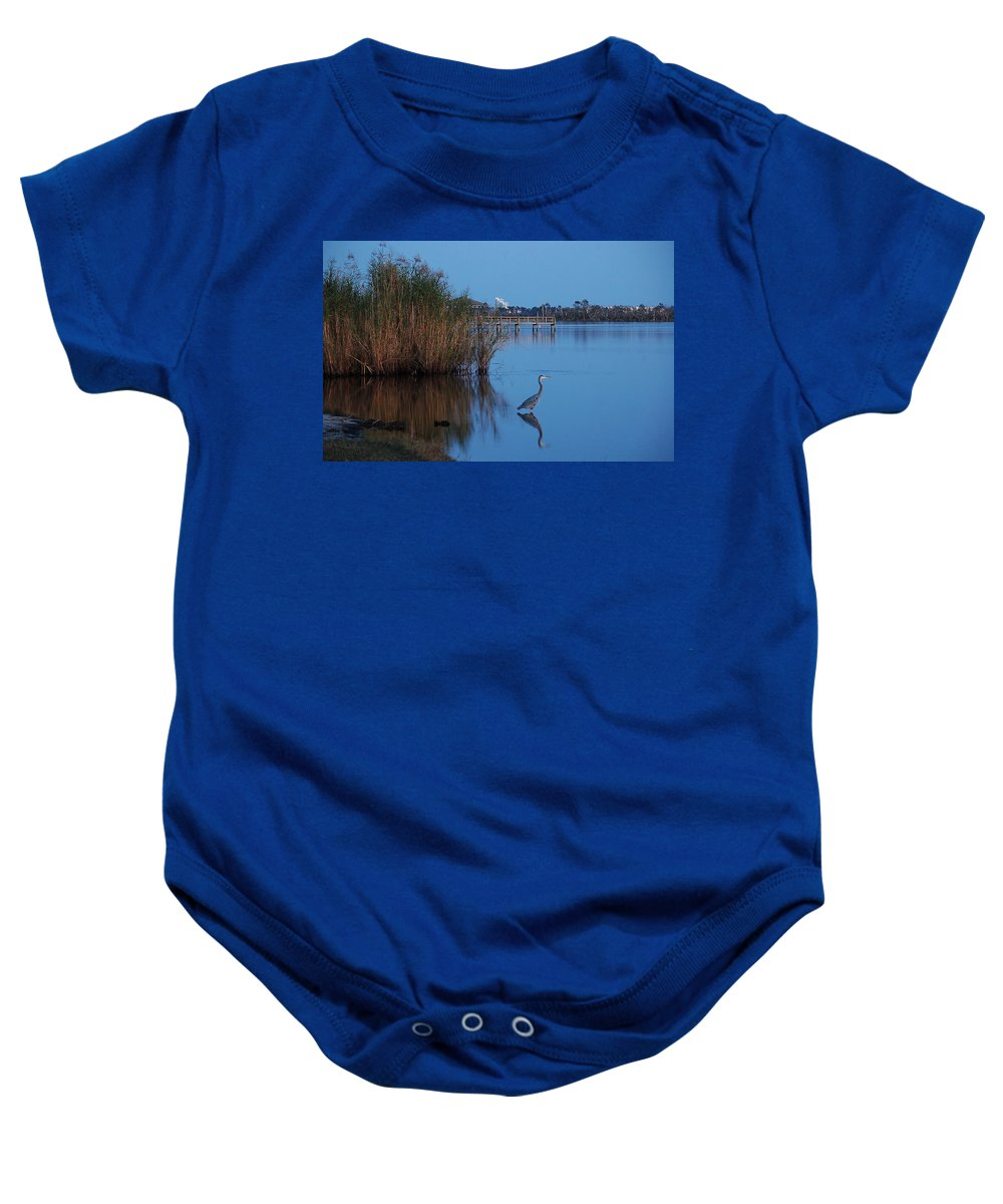 Baby Onesie featuring the digital art Heron Watching The Sunset by Michael Thomas