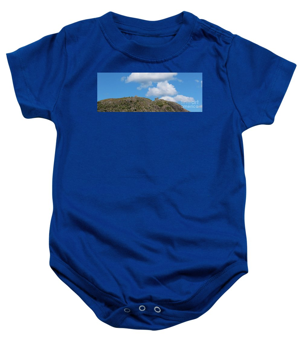 High As The Sky Baby Onesie featuring the photograph High As The Sky - Blue Sky - Cliffs by Barbara Griffin