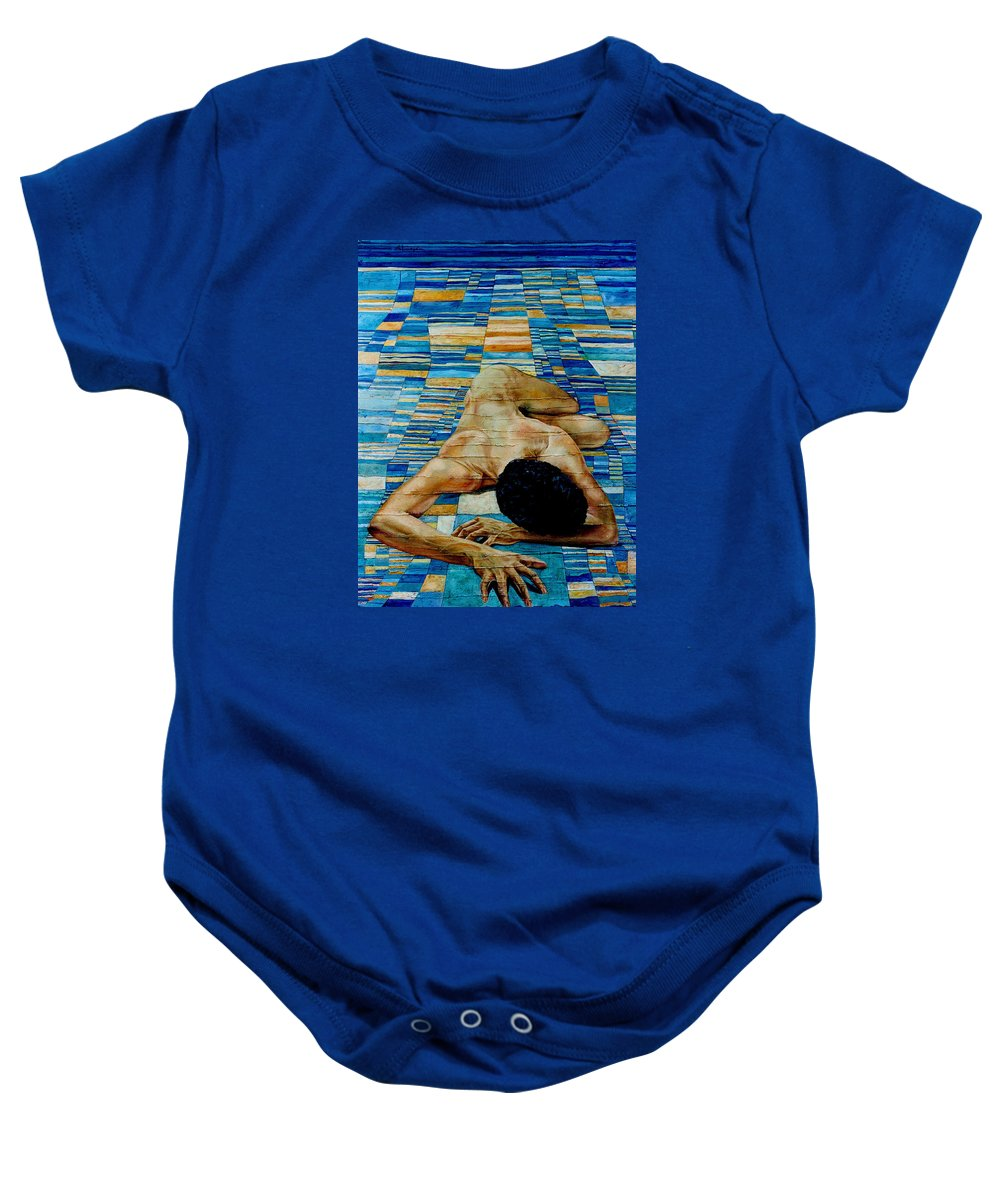Klee Baby Onesie featuring the painting Homenaje A Paul Klee by Nancy Almazan