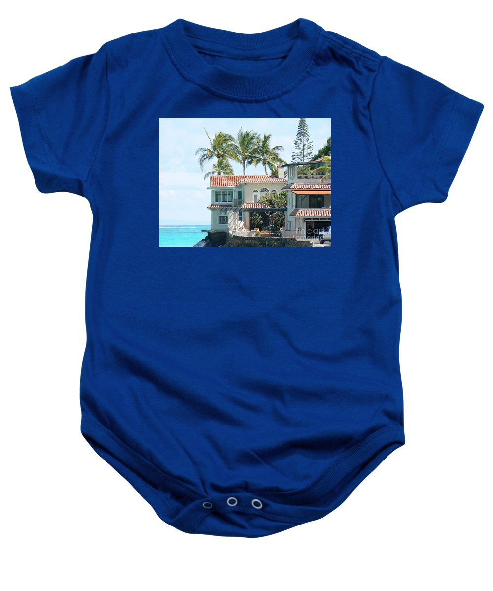 Island Baby Onesie featuring the photograph House At Land's End by Dona Dugay