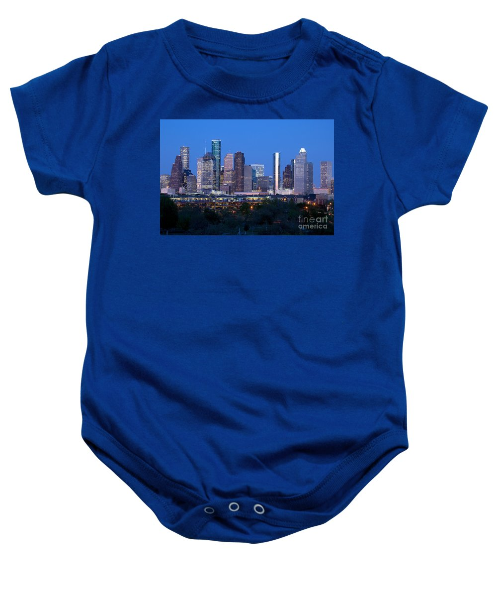 Houston Baby Onesie featuring the photograph Houston Night Skyline by Bill Cobb