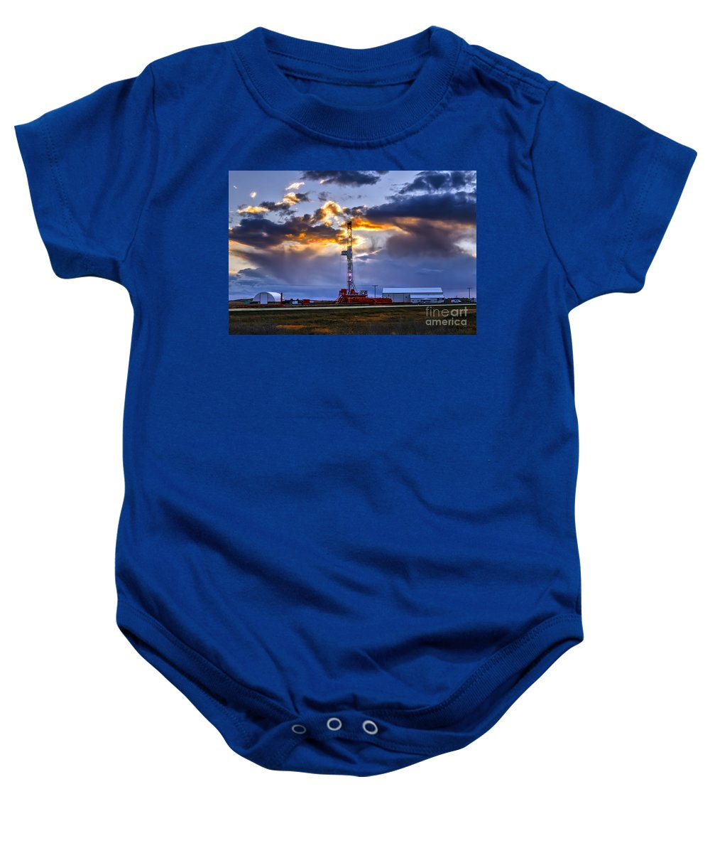 Landscape Baby Onesie featuring the photograph Sunset Over The Oil Rigs by Viktor Birkus