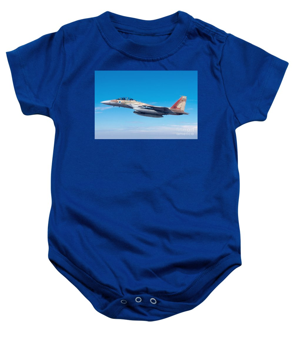 Israel Baby Onesie featuring the photograph Iaf Fighter Jet F-15i In Flight by Nir Ben-Yosef