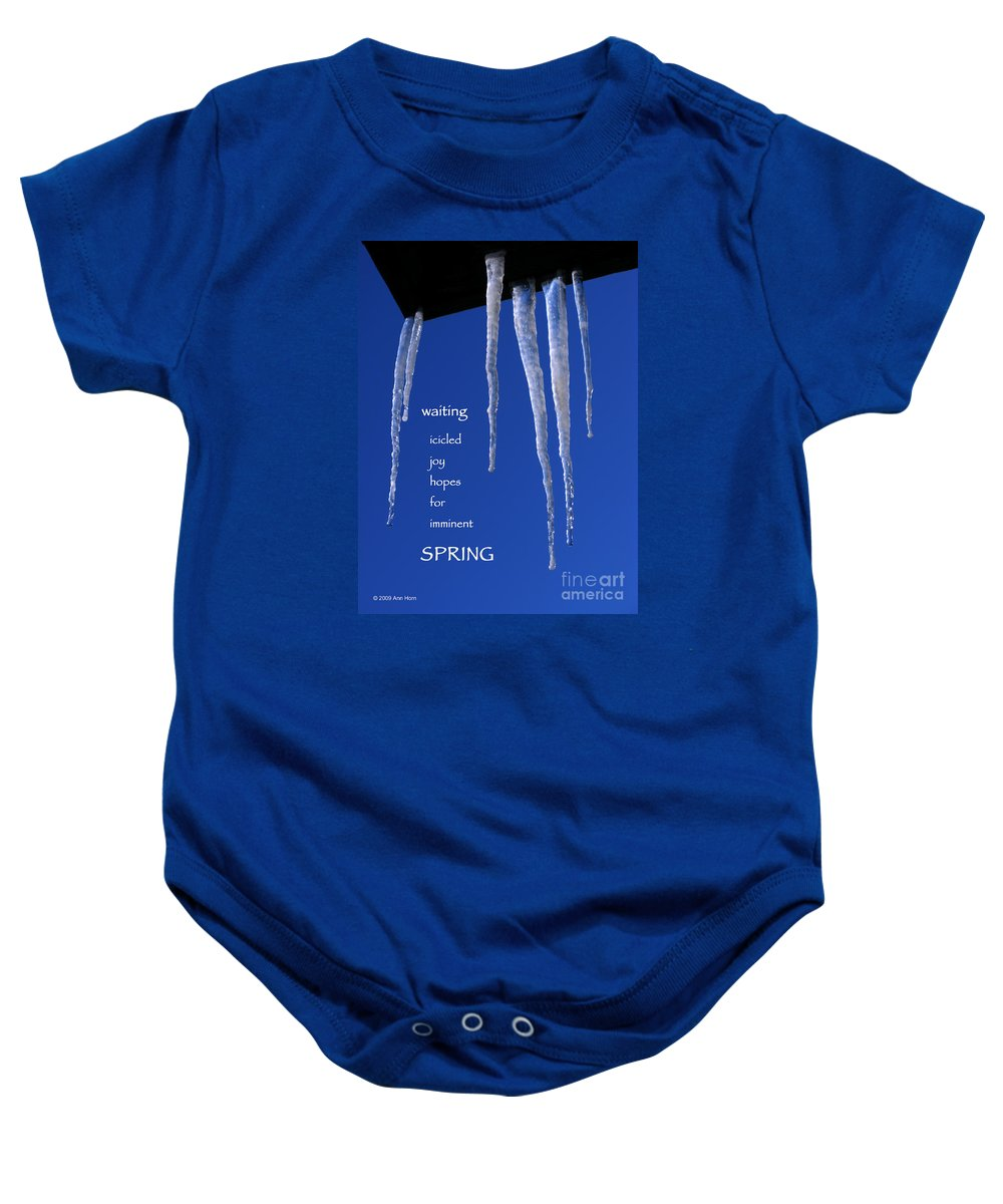 Icicle Baby Onesie featuring the photograph Icicled Joy by Ann Horn