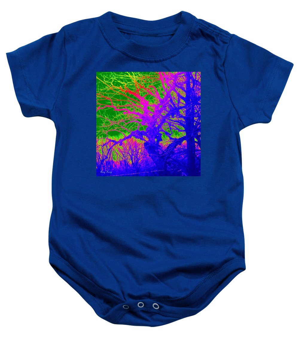 Neon Art Baby Onesie featuring the photograph Imaginary Forest Number Two by Amy Hosp