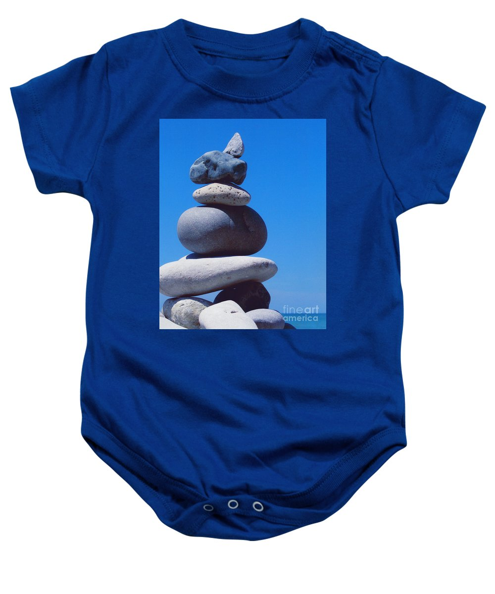 First Star Baby Onesie featuring the photograph Inukshuk 1 By Jammer by First Star Art