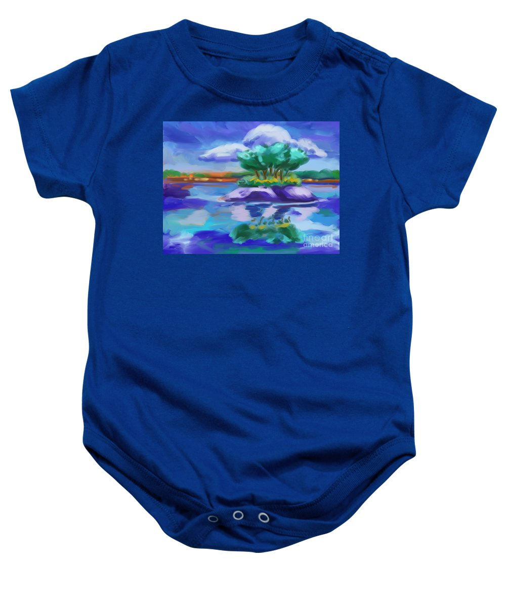 Island On The Lake Baby Onesie featuring the painting Island On The Lake by Tim Gilliland