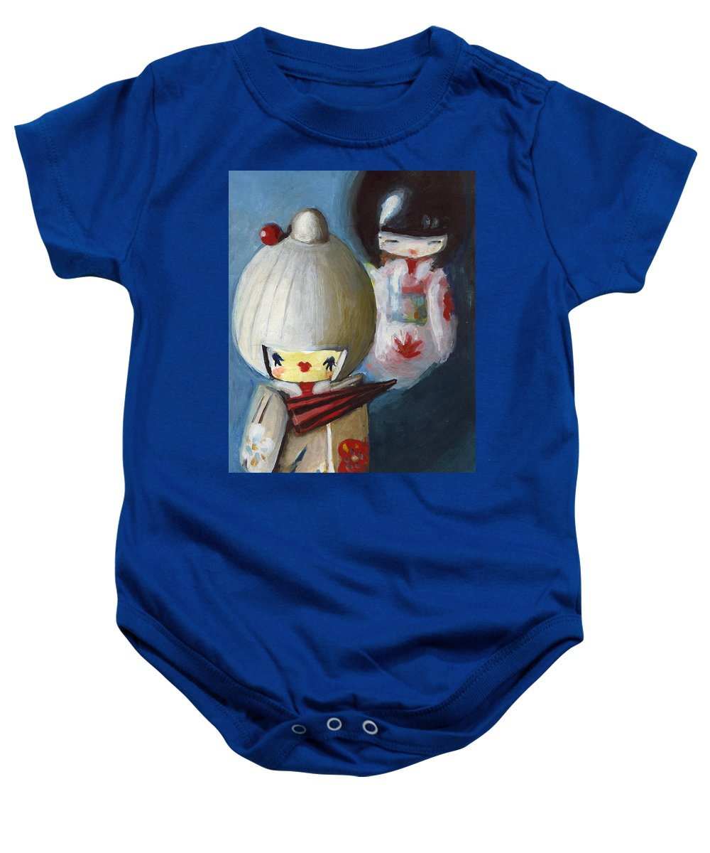 Dolls Baby Onesie featuring the painting Japanese Dolls by Maja Opacic